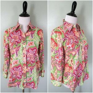 RALPH LAUREN Green Pink Floral Button Down Shirt